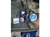 3 Shimano baitrunner reels, 2 fox warrior rods, holdall, rodbag, tackle box, chair + other bits