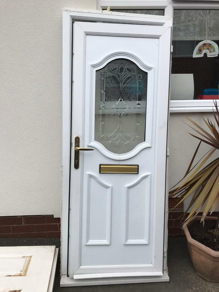White, moulded PVC Door with Cut glass insert + frame | in ...