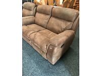 High quality brown leather 3/2/1 recliner suite