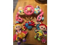 Baby buggy toys. ELC buggy driver Lamaze and woolly and Tig spider