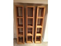 Three oak ikea shelving units