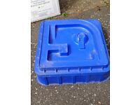ELC sand pit perfect condition blue with moulded activity lid