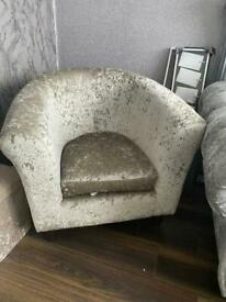 Silver crushed velvet chair