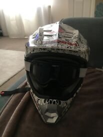 Motorcross, mountain bike helmet with goggles