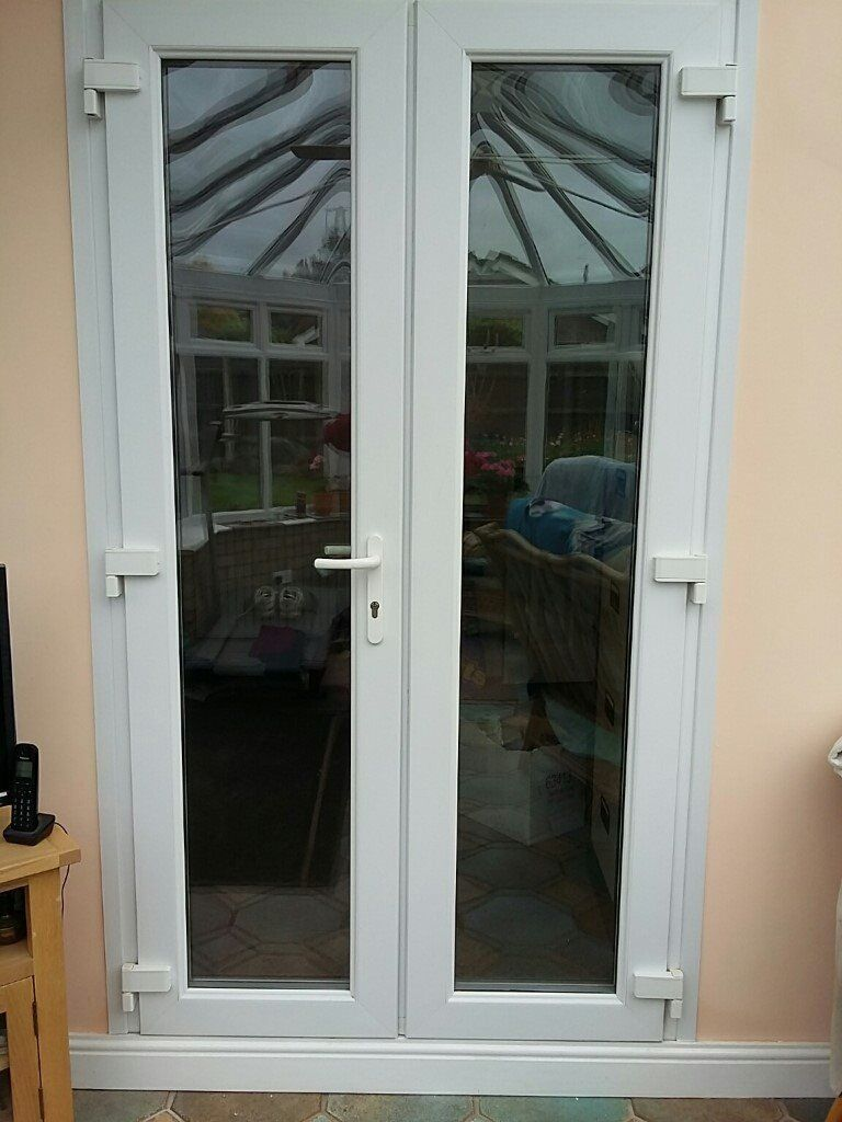 French Double Doors White Upvc Glazed 4ft Wide Avail Rox 2 Weeks