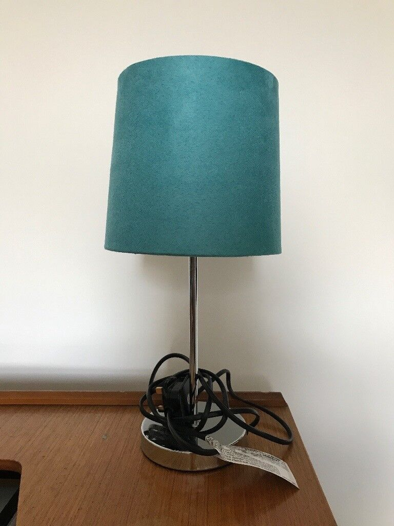 Touch table lamp, turquoise shade, silver base