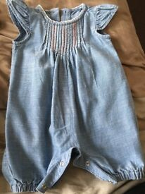 Girls Jean romper, up to 1 month