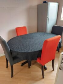 Black Ash 4-6 Seater Extendable Dining Table and Chairs