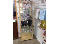 2 Door Glass Display Cabinet - Beech Effect