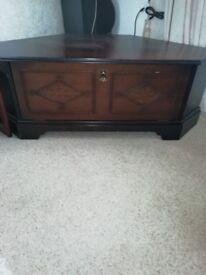 Dark wood TV corner unit