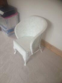 Vintage basket weave loom chair, painted white