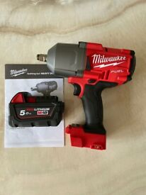 Milwaukee M18FHIWF12-0 FUEL Gen2 1/2 inch Impact Wrench & 5Ah Battery