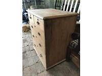 Victorian antique pine chest of drawers - 2 over 3.