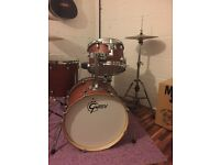 Gretsch jazz kit with cymbals, stands, stool, pedal and cases