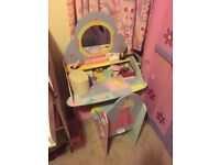 Princess dressing table desk with chair
