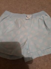 Turquoise and white shorts