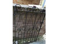 Iron gate with hinges and latch plate
