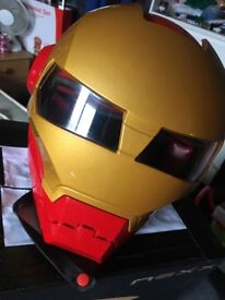 PLEASE TEXT OR CALL..Masei iron man red and gold flip face helmet dot approved