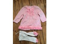 Pink fleece dress / top and tights 12-18 months