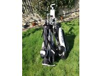 Golf clubs, 1 set, mans right hand, mainly slazenger. 1 set ladies left hand assorted clubs.