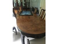 Dining table/chairs, side board & display cabinet