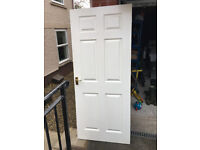 Internal Door, painted white with handles and hinges. 1983x850mm