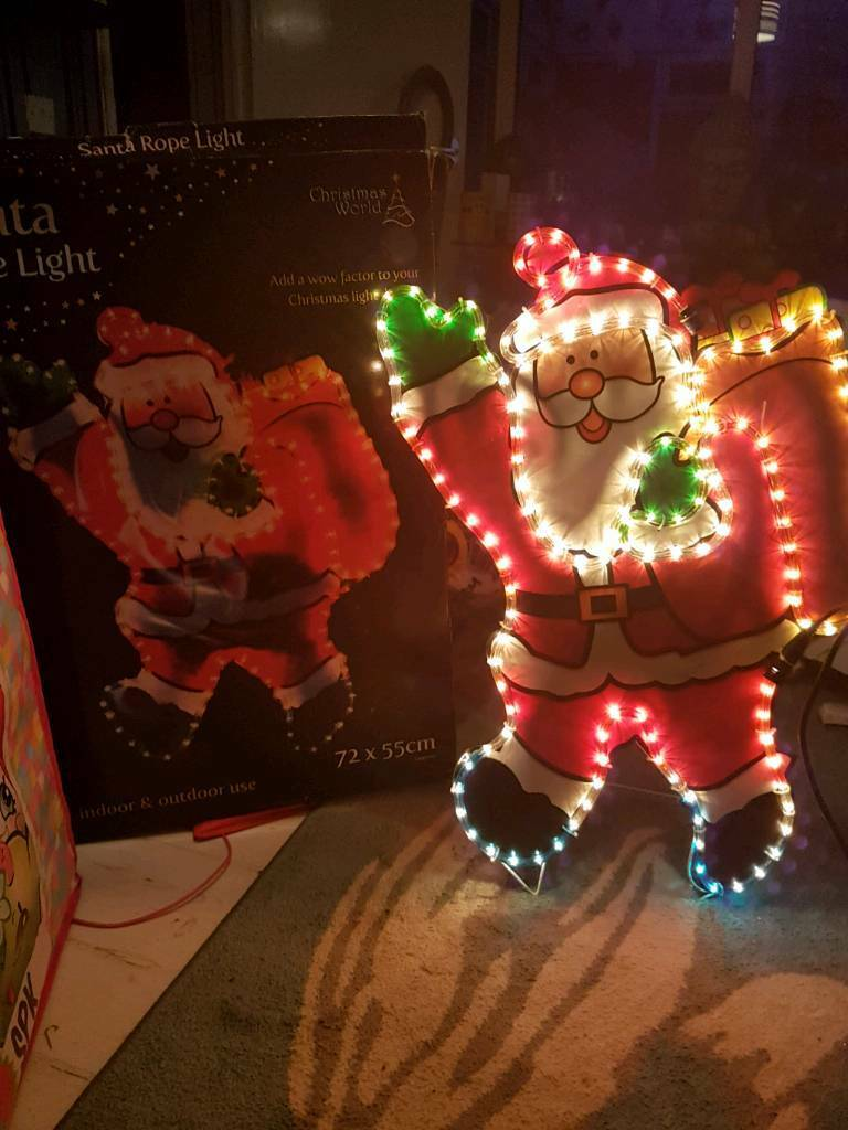 Outdoor Christmas lights Santa boxed
