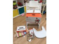 Stokke Trip Trapp white highchair with baby set and accessories