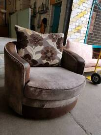 Brown corduroy compact cuddle chair
