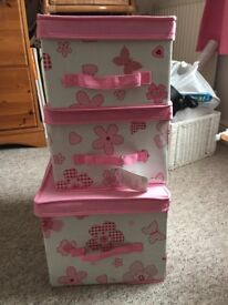 Pink fabric storage boxes