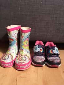 Kids size 6 my little pony wellies and trainers
