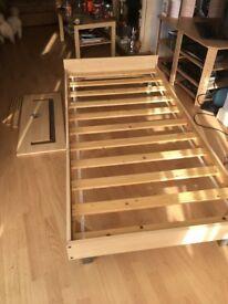 Beech/chrome modern design single bed