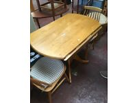 Drop leaf table and two chairs