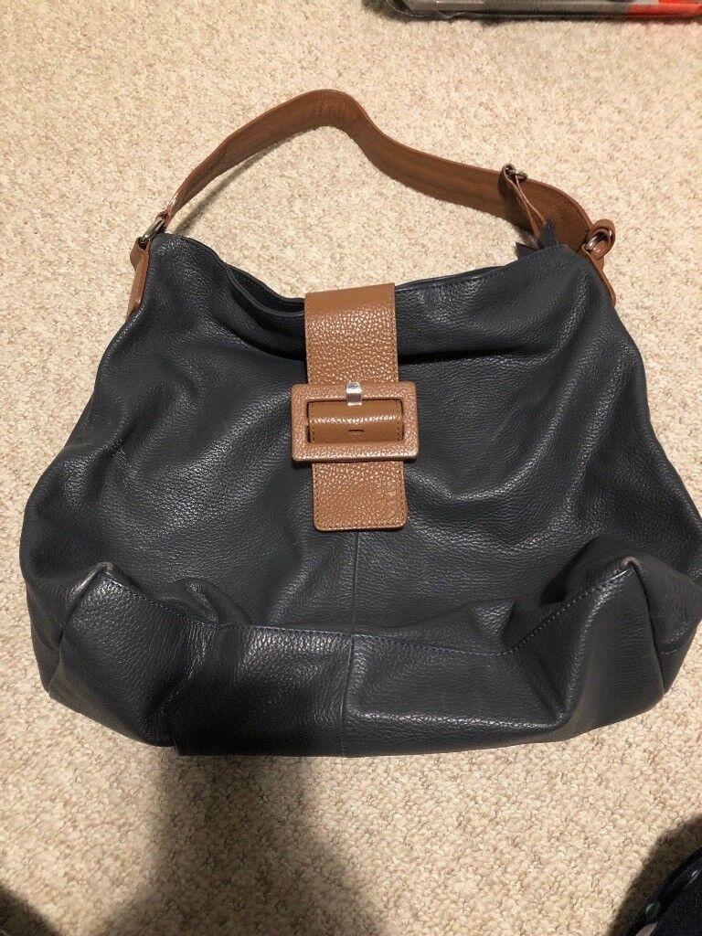 Debenhams Betty Jackson Navy Blue And Brown Leather Handbag