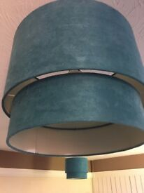 2 large teal lampshades
