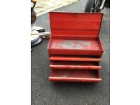 Red tool chest working