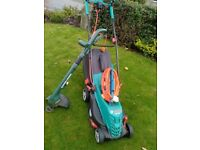 Bosch electric lawnmower, Black and Decker strimmer/edger and extension cables