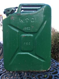 W D (war department) with broad arrow marking. Jerry can 1952
