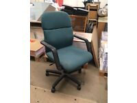 Black & Green Fabric Swivel Office Chair