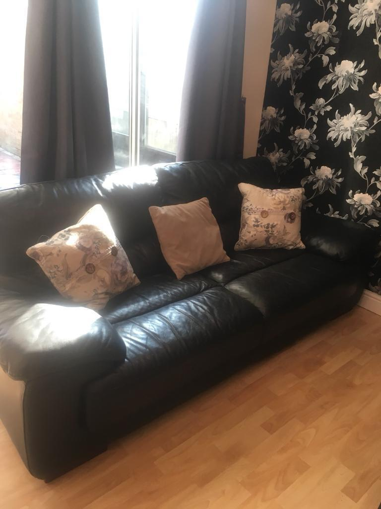 Black Leather Sofa With 3 Cushions In Harlow Essex Gumtree