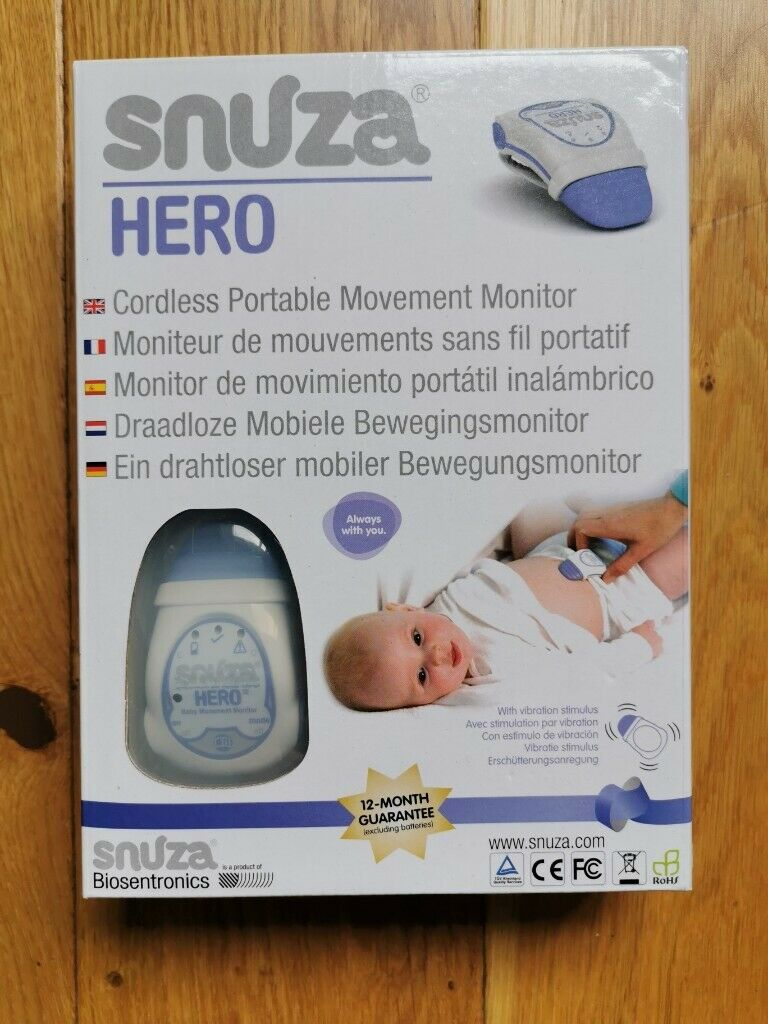 New Model. Baby Breathing Monitor Movement Cordless with Alarm and vibration SNUZA Hero