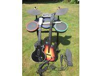 Guitar Hero Drum Kit + 2 Guitars, Kick Pedal & Microphone