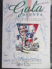 Celtic FC Gala Dinner Brochure Autographed by all Lisbon Lions and Others
