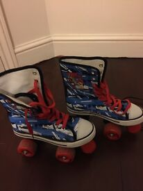 Blue and Red Skates - Canvas Quad, Junior size 4