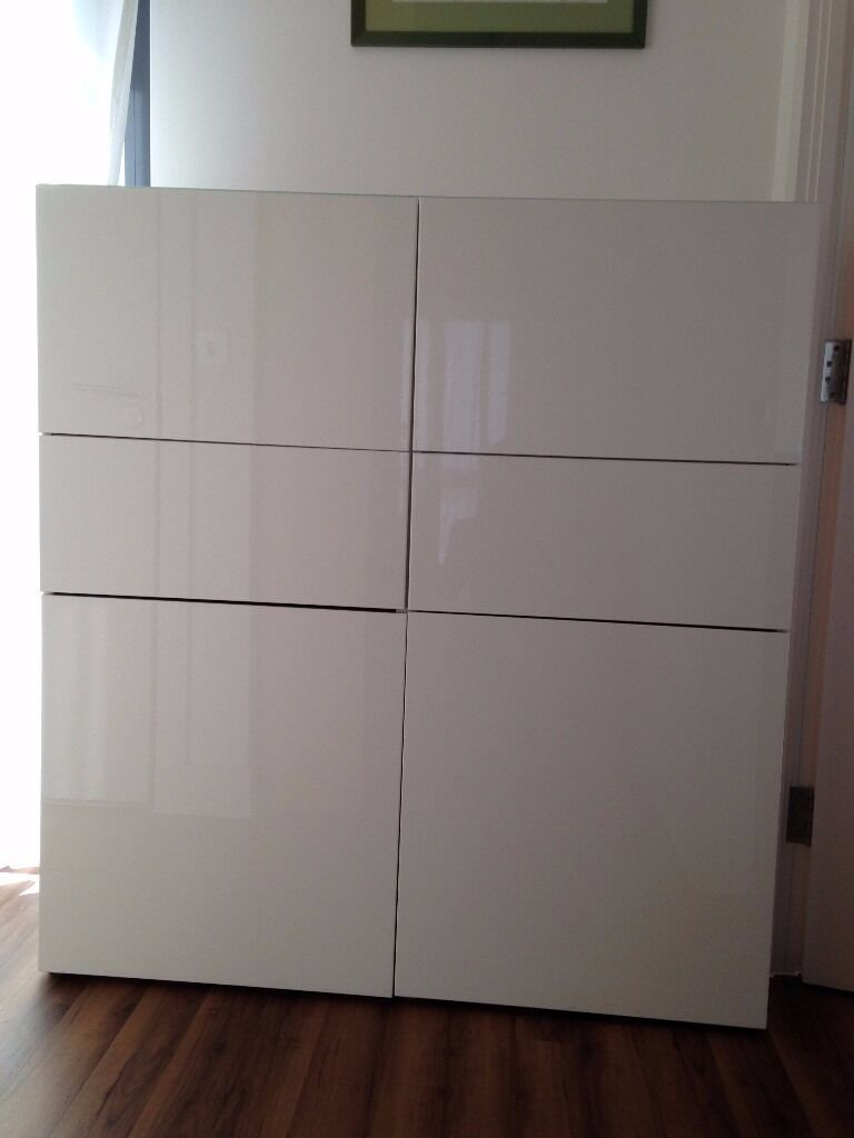 cabinet 2 drawers 4 doors ikea besta storage combinaison 120x40xh130 glossy white glass top. Black Bedroom Furniture Sets. Home Design Ideas