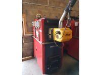 kalvis k-2-30 biomass boilers c/w 5.7m3 hopper , flues and electrics