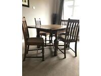 Solid Oak Dining Table & Four Chairs