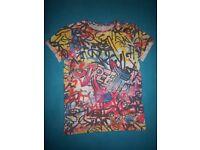 M&S Boys Grafitti T Shirt Age 11-12 Years IP1