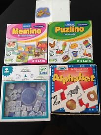 Memory Games + phonics card + alphabet puzzle and alphabet stamps.