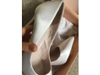 White satin heels
